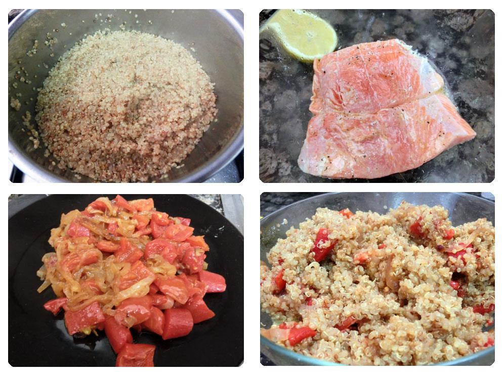Quinoa con pimiento asado y salmón